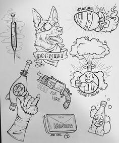 Gamer Tattoos, Anime Tattoos, Body Art Tattoos, Fallout 4 Tattoos, Tattoo Sketches, Tattoo Drawings, Skyrim Tattoo, Fallout Wallpaper, Video Game Tattoos