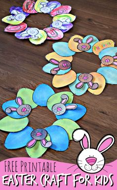 FREE Printable Easter Craft for Kids - this is such a cute easy-to-make Easter wreath craft for toddler preschool kindergarten and elementary age kids. Just print color cut and paste! Easter Arts And Crafts, Easter Crafts For Toddlers, Easter Projects, Crafts For Kids To Make, Toddler Crafts, Toddler Preschool, Spring Crafts, Kids Crafts, Easy Crafts