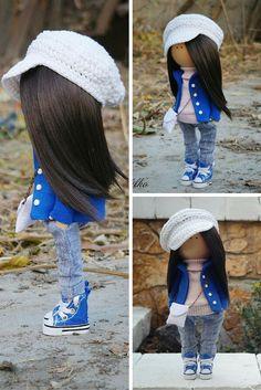 Decor doll handmade blue jeans brunette by AnnKirillartPlace