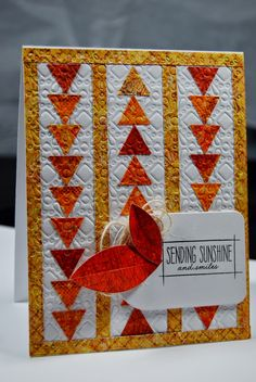 handmade card from Will Trade Sleep For Stamps ... flying geese pattern with rows of small triangles ... wonderful card!!