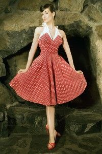 Red pin-up dress with white little dots