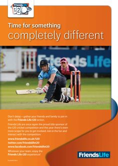 T20 poster designed when employed by Friends Life working in-house