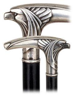 15. WMF Art Nouveau Eagle Cane-Ca. 1900-Figural silver : Lot 15