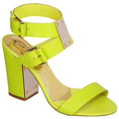 Ted Baker Women's Lissome Block Heeled Sandals - Green Leather ($220) ❤ liked on Polyvore