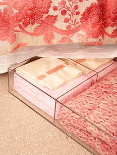Storage Under the Bed:   Clear storage bins, which slide under the bed, store throw blankets for chilly nights. The drawer dividers neatly organize linens, such as sheets and pillowcases.
