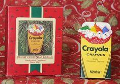 "Hallmark Christmas Ornament ~ ""Bright Christmas Dreams"" ~ Little mice sleeping in a Crayola crayons box!"