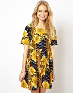 ASOS Smock Dress In Sunflower Print With Button Off Waist. ZOHMYGOSH THIS IS ADORABLE.