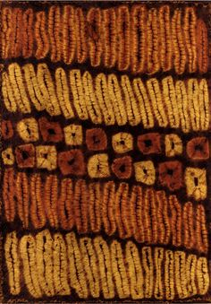 Africa | Textile panel from the Dida people of the Ivory Coast | Raffia; in rust-browns and yellows with circular and linear tie-dye patterns