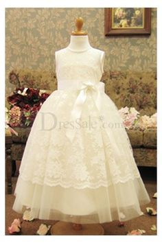 Beauteous Puffy Flower Girl Dress with Exquisite Lace Wrapping
