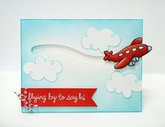 Lawn Fawn Bon Voyage & Flying By Penny Slider Card by Mendi Yoshikawa.
