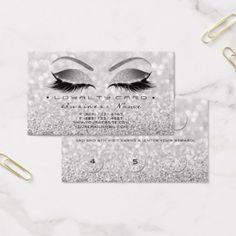 Loyalty Card 6 Beauty Salon Lashes Silver Gray - glitter glamour brilliance sparkle design idea diy elegant