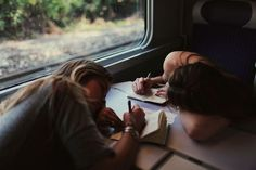 Journal writing on a train