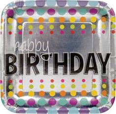 Birthday Pop Square Paper Luncheon Plates