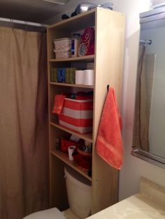Pictures In Gallery  in wide Ikea bookshelf as over toilet storage