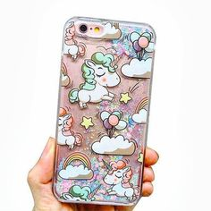 Pastel water glitter unicorn phone case @volvaerycase