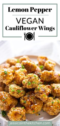 These cauliflower wings are LOADED with flavor like lemon & pepper. Great for parties or a special weeknight meal! Vegan Cauliflower Wings, Cauliflower Recipes, Wing Bites Recipe, Vegetarian Dinners, Vegan Meals, Vegetarian Recipes, Veggie Lentil Soup, Vegan Wings, Lemon Pepper Wings