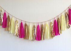 Rhubarb & Custard Tassel Garland - wedding, party decor, nursery, shop display, photo shoot, opening, backdrop
