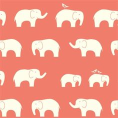 Organic Coral Ellie Fam by Birch Fabrics 1/2 by PineappleThreads, $8.00