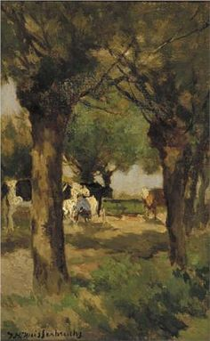 Milking cows underneath the willows - Johan Hendrik Weissenbruch