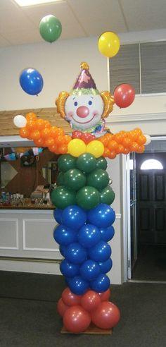 Juggling clown balloon sculpture about 10 feet tall!