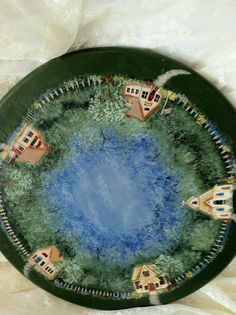 Lazy Susan Hand Painted with School Houses by Roseantiqueboutique, $29.99