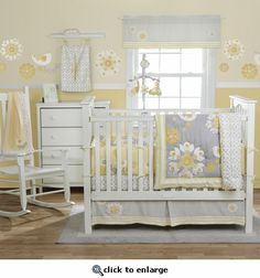 Baby girl grey and yellow bedding.  Room would be grey and white