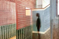 Wies Preijde's installation features hand-woven walls that skew with our perspective of space