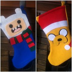 Adventure Time felt christmas stockings by SewSoGeeky on Etsy, $19.99 Lumpy space princess, BMO, Ice King, Fin the Human, and Jake the Dog!