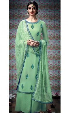 Green Embroidered Straight Cut Plazzo Suit -