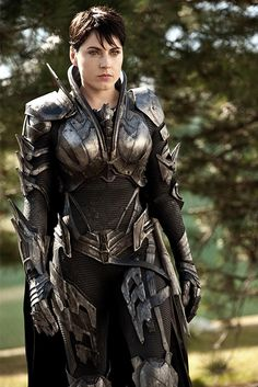 Fantasy Movie Comic Book Armor.  She's one of the antagonists from Man of Steel.  Covers all the vulnerable parts and doesn't hinder mobility, nice.