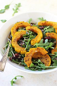 Roasted delicata squash & wild rice salad with a maple mustard dressing! Wholesome, simple and excellent for the holidays! Vegan & gluten free!