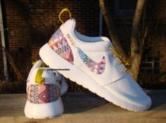 17ff0f3ed492 Custom White Gold Nike Roshe Run- Rainbow Tribal White Nike Roshe Run -  Women  Men