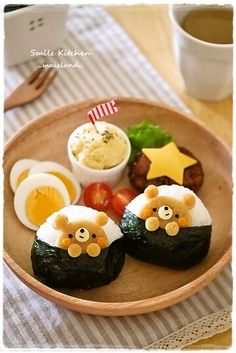 Bear onigiri lunch plate bento!