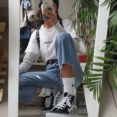 Tenue vintage - clothes - Tenue vintage – clothes You are in the right place about korean outfits Her - Girl Outfits Tumblr, Skater Girl Outfits, Indie Outfits, Edgy Outfits, Retro Outfits, Cute Casual Outfits, Fashion Outfits, Teen Outfits, Vintage Hipster Outfits