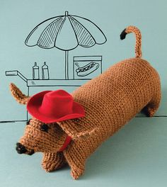 Ravelry: Dylan the Dachshund pattern by Nicky Epstein Getting More Energy, Jumbo Yarn, Spring Books, Plymouth Yarn, Stockinette, Softies, Knitting Projects, Diy And Crafts, Dinosaur Stuffed Animal