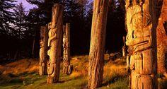 Ancient Haida poles, Haida Gwaii, BC Canada
