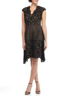 Maggy London BlackNude Lace Fit and Flare Dress