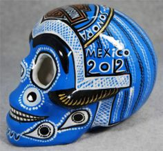 Large Dia de Los Muertos Rocky Point Biker Mexican Talavera Ceramic Sugar Skull | eBay