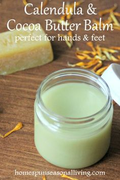 Soothe and nourish overworked hands and feet with the power of beeswax and natural ingredients in this DIY calendula cocoa butter balm. remedies baking soda remedies diy home remedies skin care remedies sore throat remedies treats Natural Health Remedies, Herbal Remedies, Salve Recipes, Diy Beauté, Diy Lotion, Homemade Beauty Products, Natural Products, Facial Products, Body Products