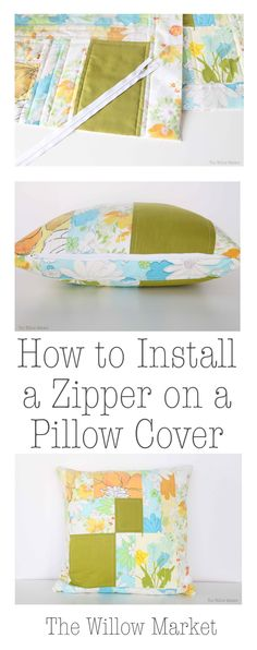 How to sew and install a zipper into a quilted pillow cover. : How to sew and install a zipper into a quilted pillow cover. Quilt Pillow Case, Pillow Room, Pillow Cases, Diy Pillow Covers, Decorative Pillow Covers, Cushion Covers, Box Cushion, Diy Sewing Projects, Sewing Tips