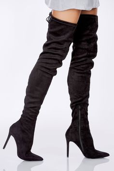 95d13bf2f126 An incredibly sexy pair of thigh high boots with a sultry stiletto heel.  Chic suede