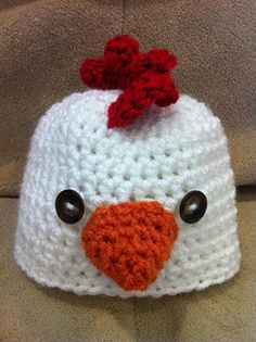 Chicken hat ) -- I want one in an adult size! 1f448cdecd9