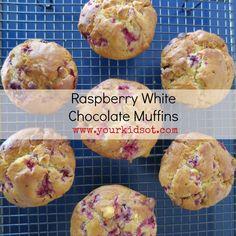 Raspberry White Chocolate Muffin Recipe: Your Kids OT Raspberry And White Chocolate Muffins, Raspberry Muffins, Choc Muffins, Savoury Slice, Healthy Muffins, Savory Muffins, Healthy Food, Easy Homemade Recipes, Simple Recipes
