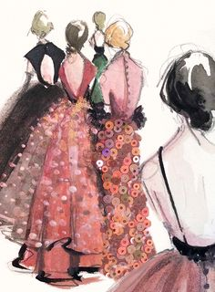 Katie Rodger of Paper Fashion translated some of her favorite gowns seen on the runways at New York Fashion Week onto paper using watercolors, glitter and sequins.