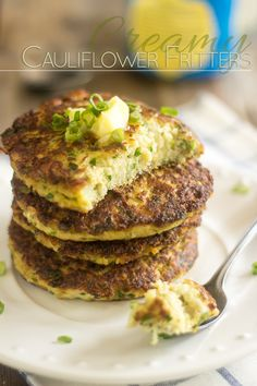 Creamy Cauliflower Fritters   thehealthyfoodie.com