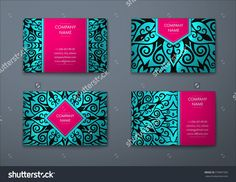 Vector Vintage Visiting Card Set. Floral Mandala Pattern And Ornaments. Oriental Design Layout. Islam, Arabic, Indian, Ottoman Motifs. Front Page And Back Page. - 379897393 : Shutterstock