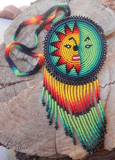Your place to buy and sell all things handmade Indian Beadwork, Native Beadwork, Native American Beadwork, Seed Bead Earrings, Seed Beads, Native Beading Patterns, Sun Designs, Beaded Collar, Light Orange