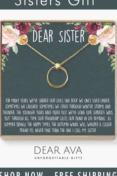 How do people make it through life without a sister? She may not always be there with you, but she'll always be there for you through thick and thin.  Sometimes the girl who's always there for everyone else needs someone there for her. Celebrate your connection of love and friendship with this beautiful jewelry piece. Good Sister Quotes, Father Daughter Quotes, Cousin Quotes, Cute Sister, Dear Sister, Brain Tricks, Grandmother Quotes, Friendship Quotes, Positive Quotes