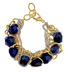 I'd like this as a necklace. -m :: Carolyn Bracelet, Carolyn bracelet (blue agate, steel and gold chains) Jewelry Box, Jewelery, Jewelry Accessories, Fashion Accessories, Big Jewelry, Bold And The Beautiful, Beautiful Things, Fantasy Jewelry, Blue Gold