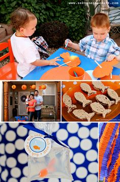 polka dot goldfish party: fish puppet craft, PB sandwiches, soap favors + sewn layered ruffle crepe paper streamers